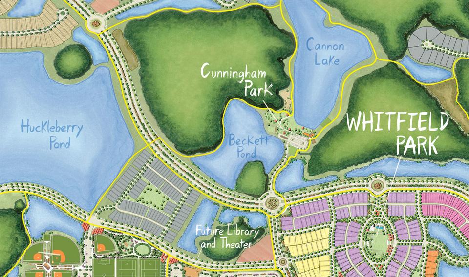 Cunningham Park Close-Up Map